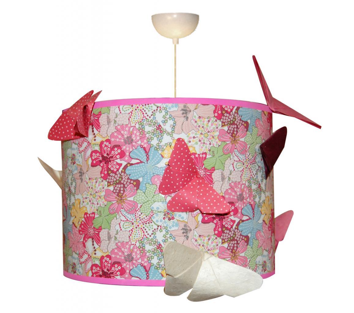 Suspension en tissu et papillons en origami