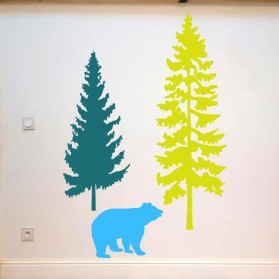 Sticker, décoration murale, thème silhouette d'ours, couleurs au choix.