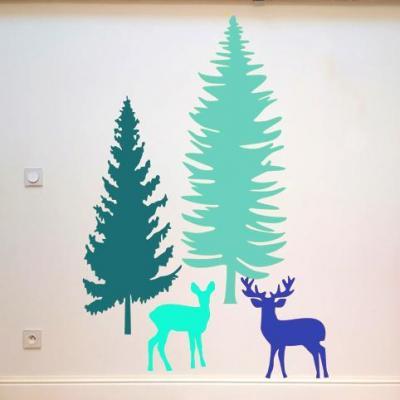 Stickers, décoration murale, thème biche et cerf, couleurs au choix.