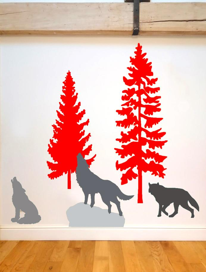 2 sapins 3 loups rouge
