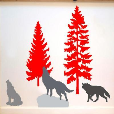 Stickers, décoration murale, thème meute de loups couleurs au choix.