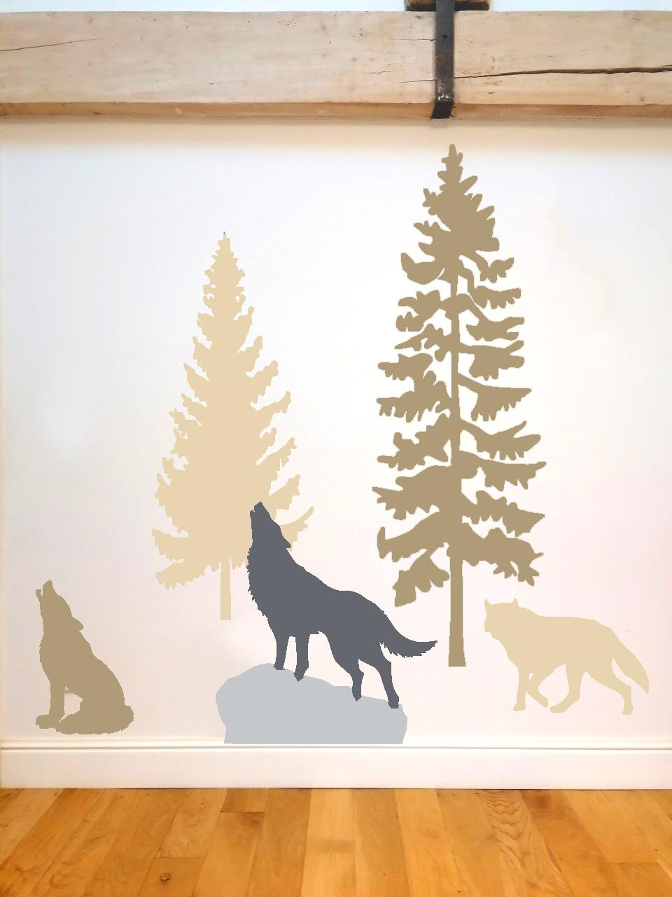 2 sapins 3 loups taupe