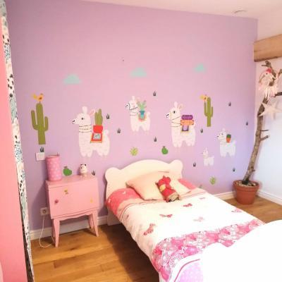 Stickers muraux, décoration de chambre d'enfant, thème lamas, cactus.