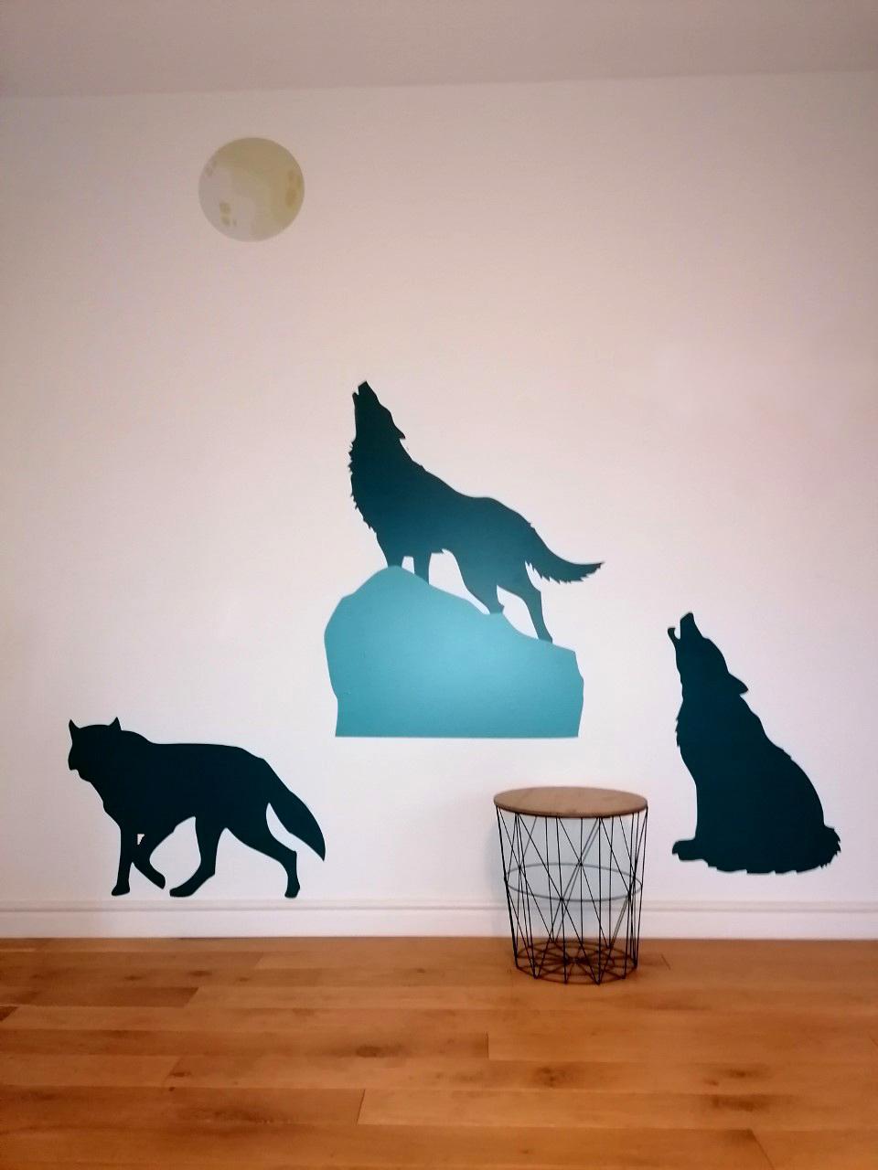 3 loups stickers bleu