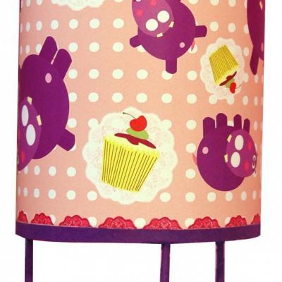 luminaire enfant, lampe de chevet ' Les Hippopotames et les cupcakes'