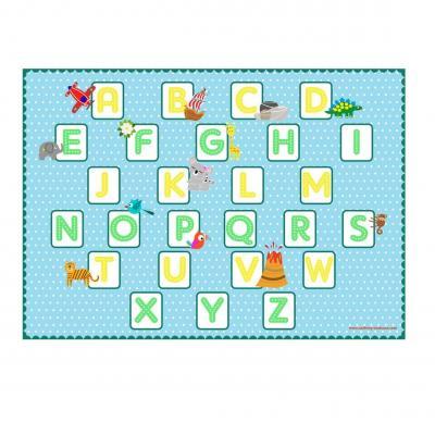 Set de table pédagogique, set de table enfant, thème alphabet, ton bleu.