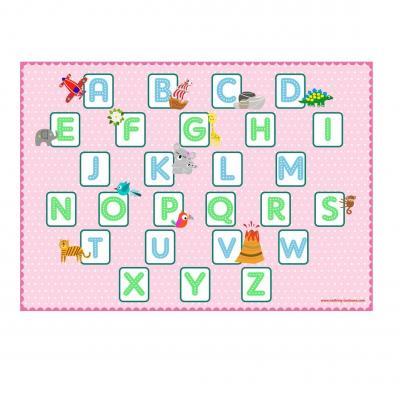 Set de table pédagogique, set de table enfant, thème alphabet, ton rose.