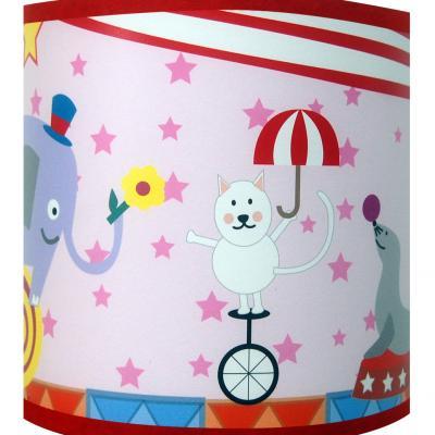 """Luminaire enfant applique """"Circus, les animaux font le cirque"""" fond rose"""