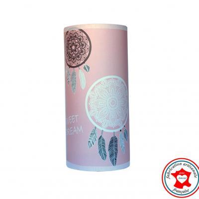 Lampe de chevet tube, motif attrape rêves, tons rose et gris