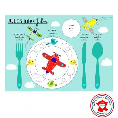 Set de table pédagogique, set de table enfant, thème avion, tons bleu, rouge, jaune