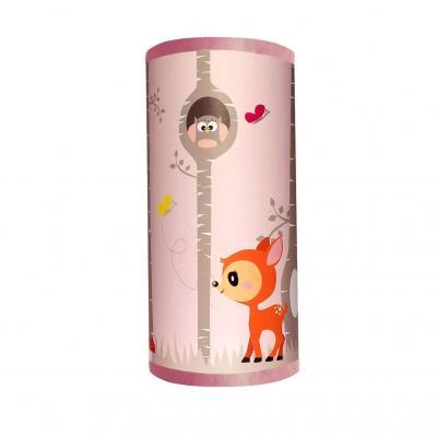 Lampe de chevet fille, thème forêt de bouleau, faon, écureuil, tons rose et gris.