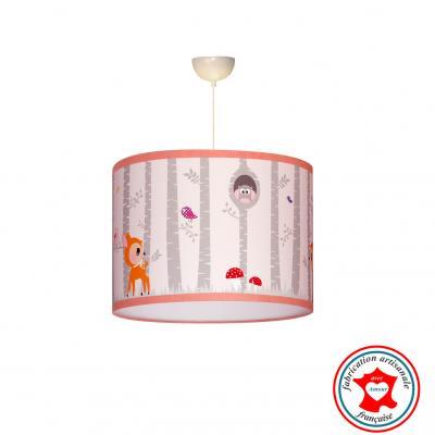 """Suspension enfant """"Forêt de bouleau et ses animaux"""" rose"""