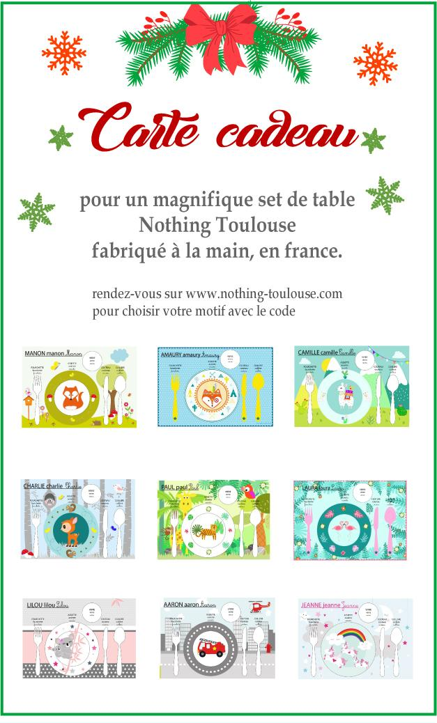 Carte cadeau set de table 1
