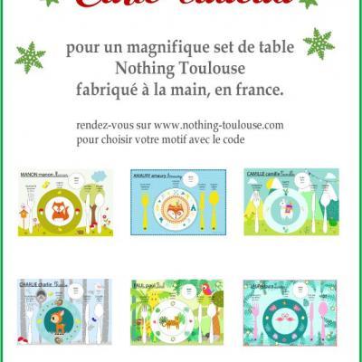 Carte cadeau pour un set de table pédagogique, motif au choix.