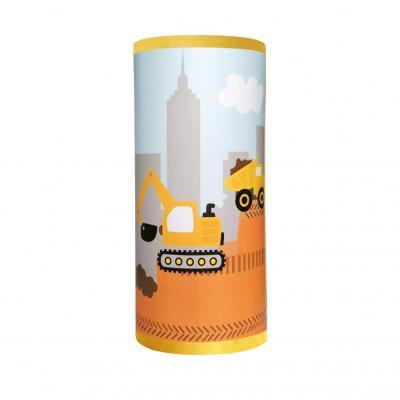 Lampe de chevet garçon, motif camions de chantier, tons jaune et gris.
