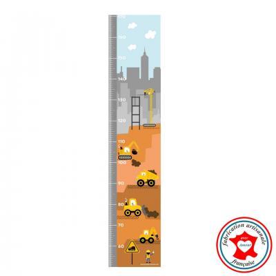 Toise enfant, thème camions de chantier, couleurs jaune et gris.