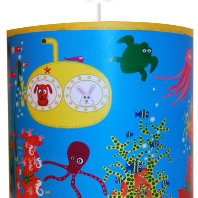 """Luminaire enfant Suspension """"Tous à l'eau""""  motif marin"""