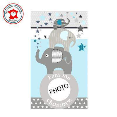 Plaque de porte pour chambre enfant, thème éléphants, tons bleu gris,avec photo à insérer