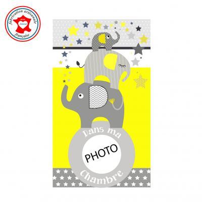 Plaque de porte pour chambre enfant, thème éléphants, tons jaune gris,avec photo à insérer