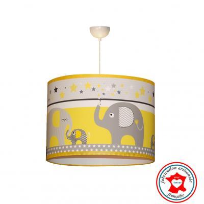 """Suspension enfant """"La parade des éléphants"""" jaune"""