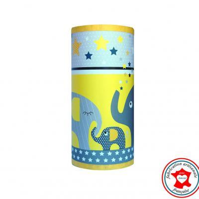Lampe de chevet tube, motif famille éléphants, tons jaune et gris