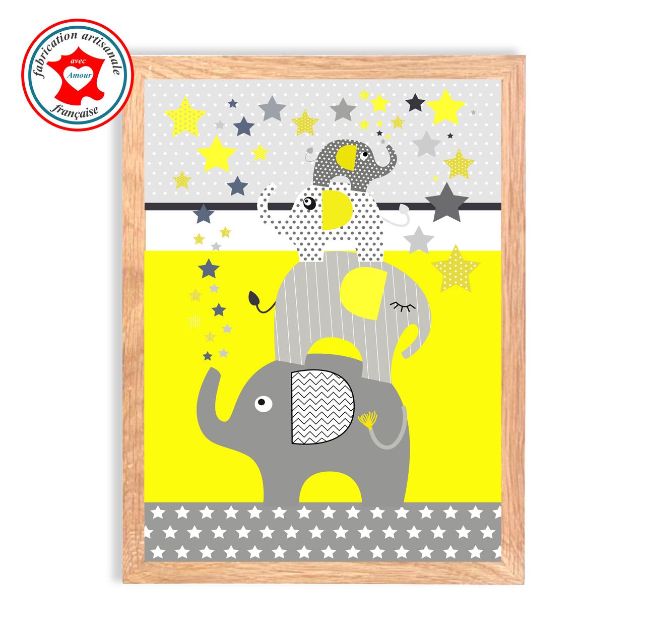 Elephants jaune tableau 1