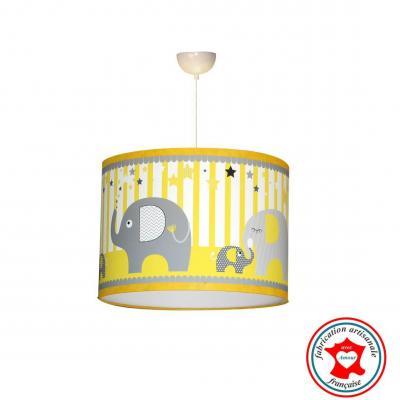 Abat-jour, suspension, thème éléphants, tons jaune et gris.
