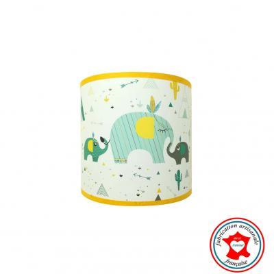 Luminaire enfant, Applique murale, thème maman éléphant, indien, tipi, cactus, couleurs bleu, jaune, mint