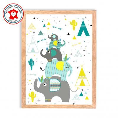 Tableau garçon, thème éléphant, tipi, indien, cactu, affiche chambre garçon, tons bleu, jaune, mint