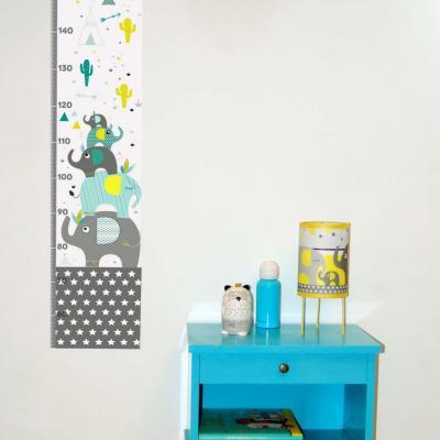 Toise enfant, thème tipi, indien, éléphant, tons bleu et jaune