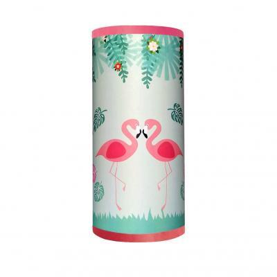 Lampe de chevet fille, thème flamant rose, tons rose et bleu.