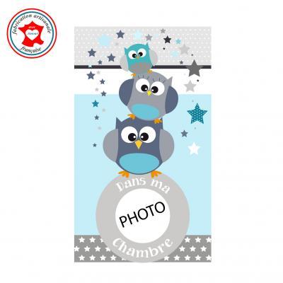 Plaque de porte pour chambre enfant, thème hiboux, tons bleu gris,avec photo à insérer