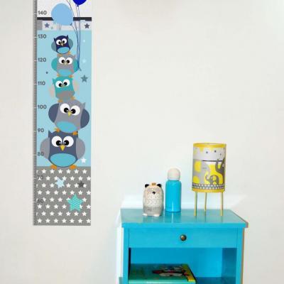 Toise enfant, thème famille hiboux, tons bleu et gris