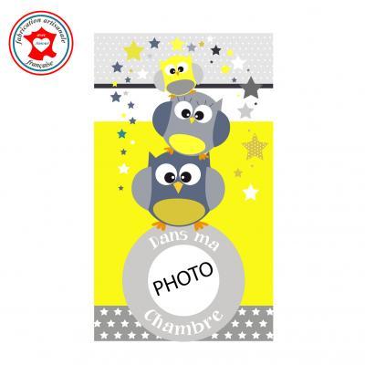 Plaque de porte pour chambre enfant, thème hiboux, tons jaune gris,avec photo à insérer