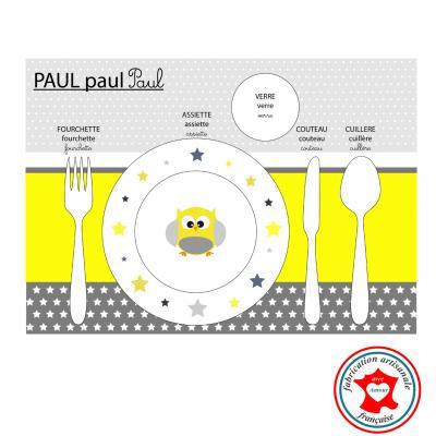 Set de table pédagogique, set de tasble enfant, thème hiboux, tons jaune et gris