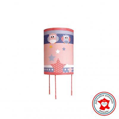 Lampe de chevet enfant, thème hiboux, tons rose et gris.