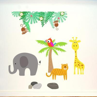 Stickers, décoration murale, thème les animaux de la savane et de la jungle.