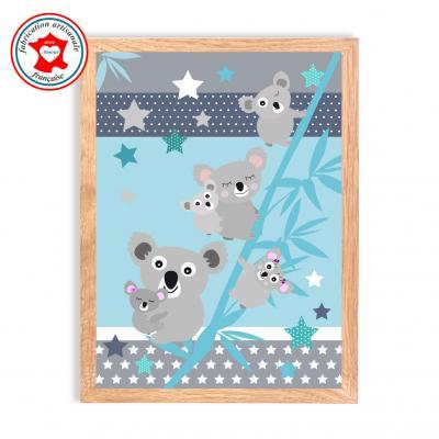 """Tableau enfant  """" La famille koala """" bleu"""