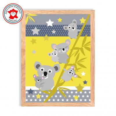 "Tableau enfant  "" La famille koala "" jaune"