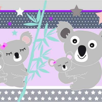Abat-jour, suspension chambre enfant, thème famille koala, tons violet et turquoise.