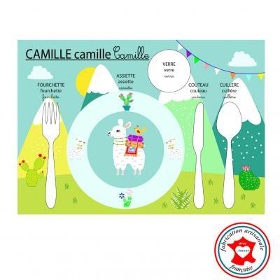 Set de table montessori, set de table enfant, thème lama, tons vert et bleu