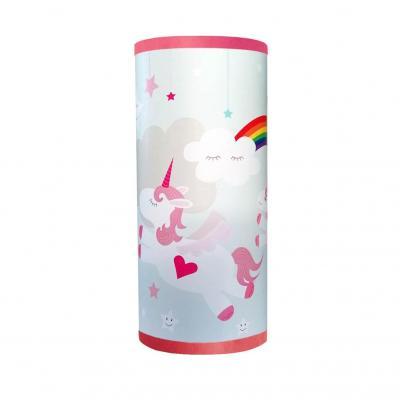 Lampe de chevet fille, thème licornes, tons rose et bleu.