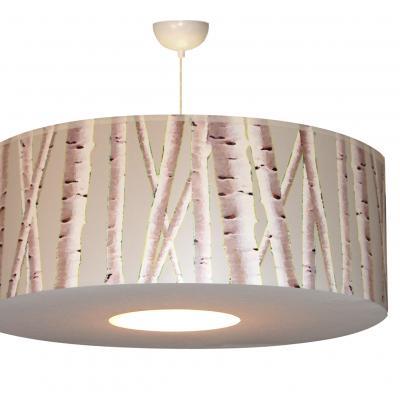suspension motif forêt de bouleaux fond gris