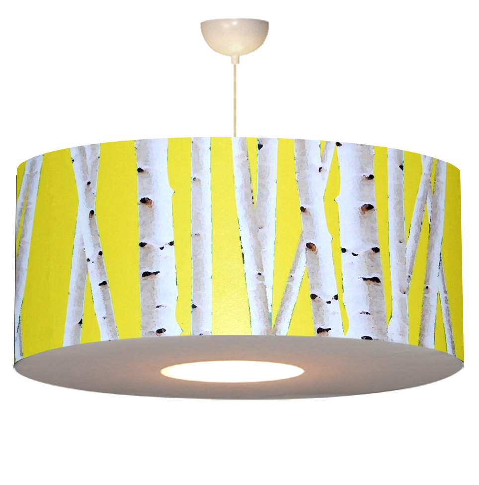 Luminaires lustre sky ligth motif bouleau jaune copie
