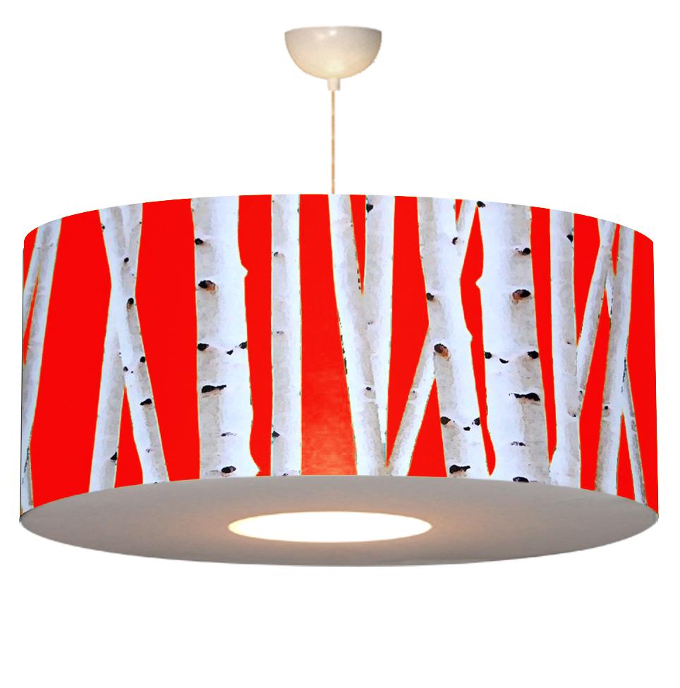 Luminaires lustre sky ligth motif bouleau rouge