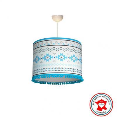 Abat-jour, suspension, thème motif mexicain, tons bleu et gris.