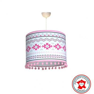 Abat-jour, suspension, thème motif mexicain, tons rose et gris.