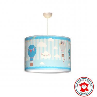 Abat-jour, suspension, thème montgolfière, ton bleu.