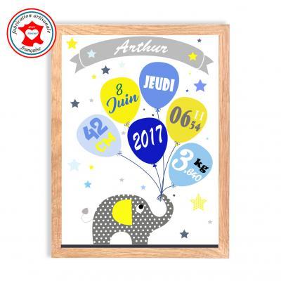 Tableau naissance garçon, thème éléphant, tableau à personnaliser, cadeau de naissance, décoration chambre garçon bleu et jaune