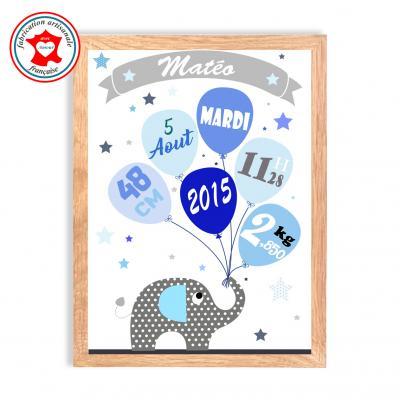 Tableau naissance garçon, thème éléphant, tableau à personnaliser, cadeau de naissance, décoration chambre garçon bleu